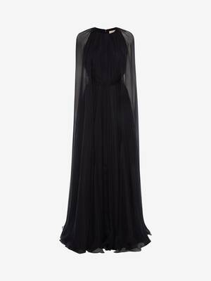 Cape Sleeve Chiffon Evening Dress