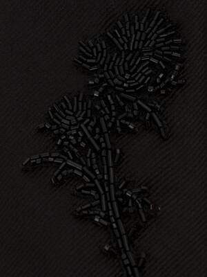 Jet Thistle Embroidered Tie