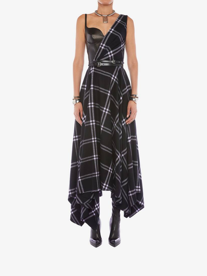 Display a large version of the product image 2 - Asymmetric Check Blanket Dress