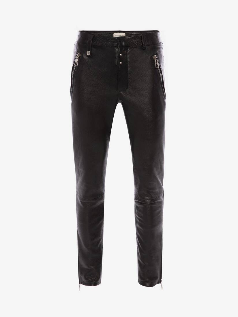 Display a large version of the product image 1 - McQueen Classic Leather Biker Trousers