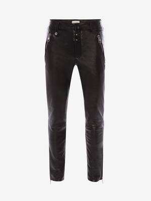 McQueen Classic Leather Biker Trousers