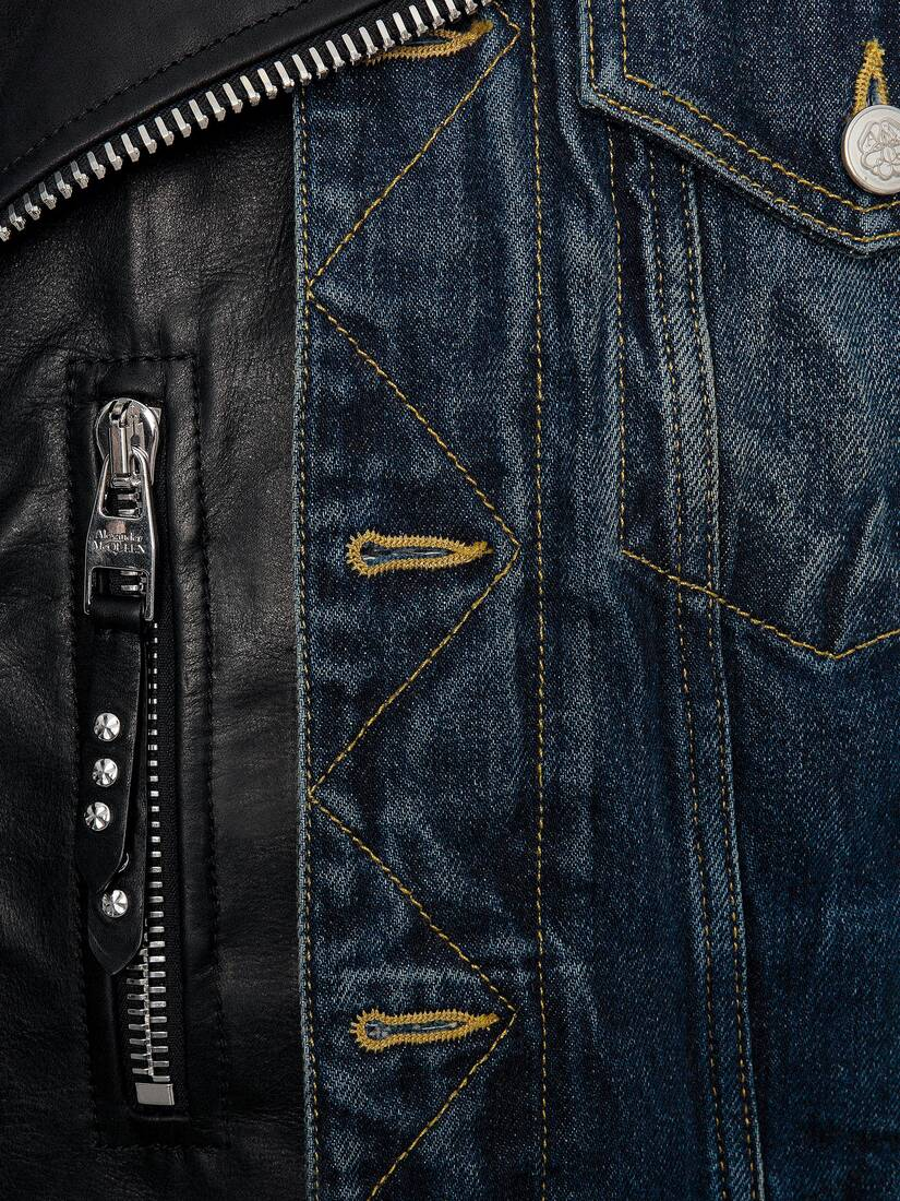 Display a large version of the product image 5 - Hybrid Denim Biker Jacket