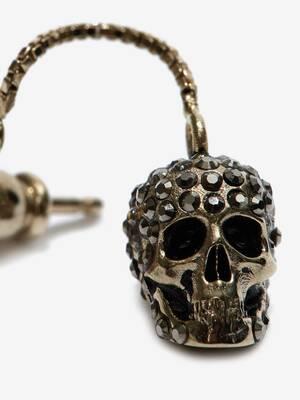 Boucles d'oreilles avec chaîne et skull pavé