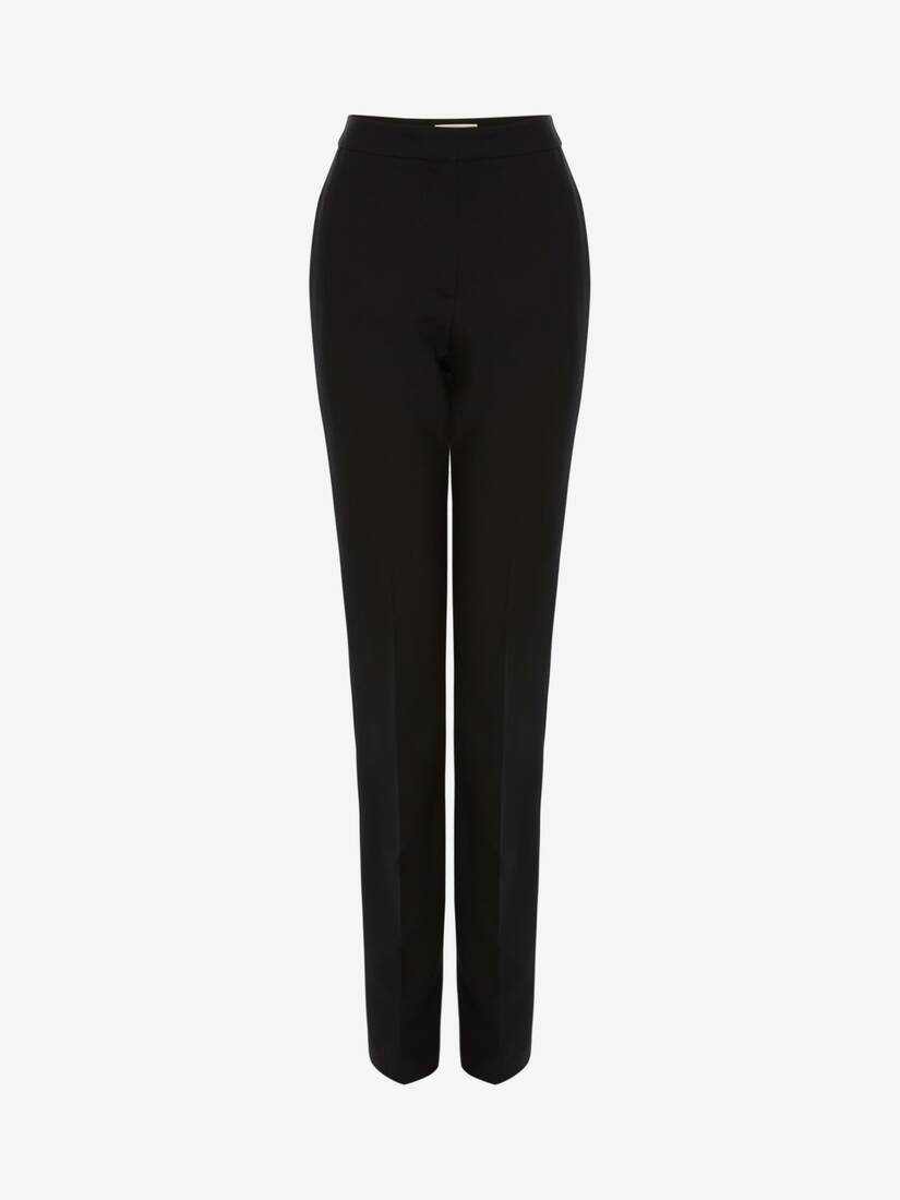 Display a large version of the product image 1 - Light Wool Silk Long Cigarette Trouser