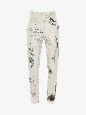 Sketchbook Printed Cigarette Trousers