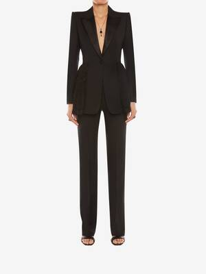 Light Wool Silk Long Cigarette Trouser