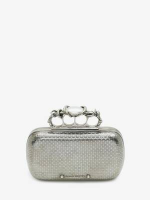 Woven Four Ring Box Clutch