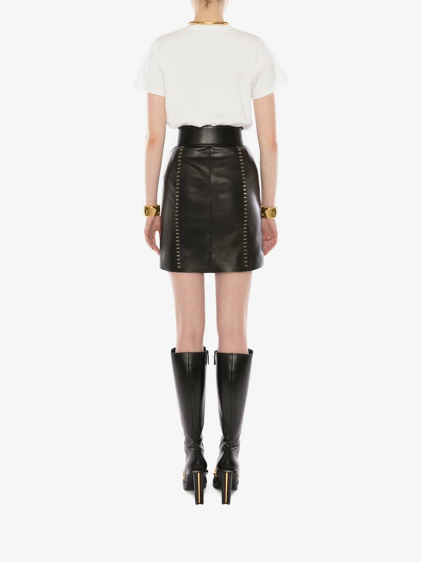 Display a large version of the product image 4 - Stapled Leather Mini Skirt