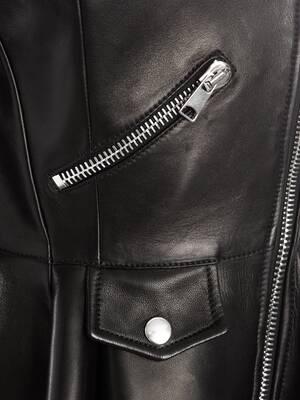 Bi-Colour Leather Biker Jacket
