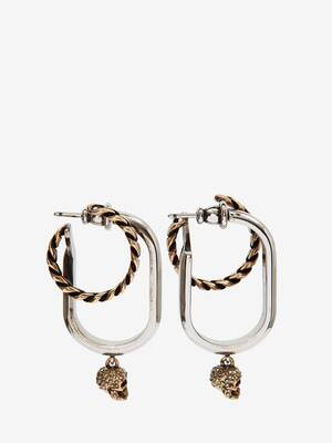 Double Hoop Chain and Skull Earrings