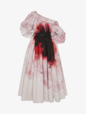 Dropped shoulder Anemone Print dress