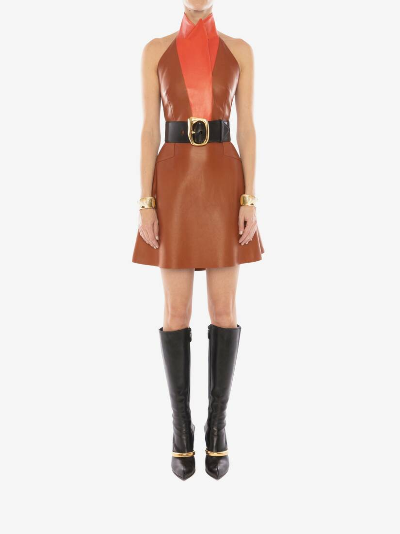 Display a large version of the product image 2 - Halterneck Leather Mini Dress