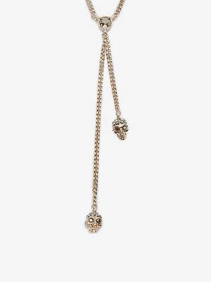 Double-Wrap Chain Skull Necklace
