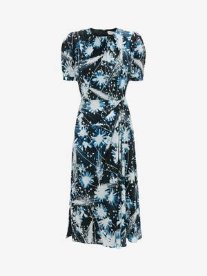 Solarized Floral Folded Drape Pencil Dress