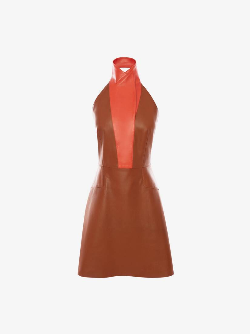 Display a large version of the product image 1 - Halterneck Leather Mini Dress