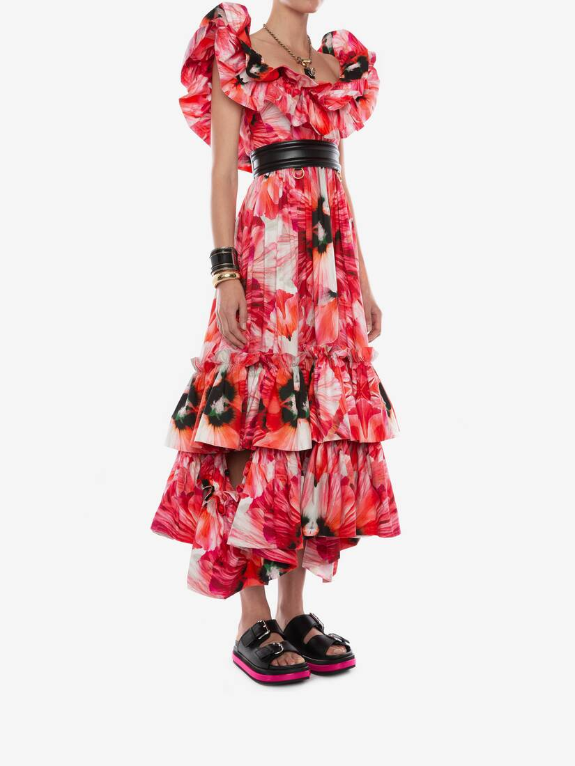 Display a large version of the product image 3 - Exotic Floral Ruffle Evening Dress