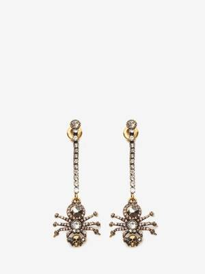 Pave Spider Chain Earrings