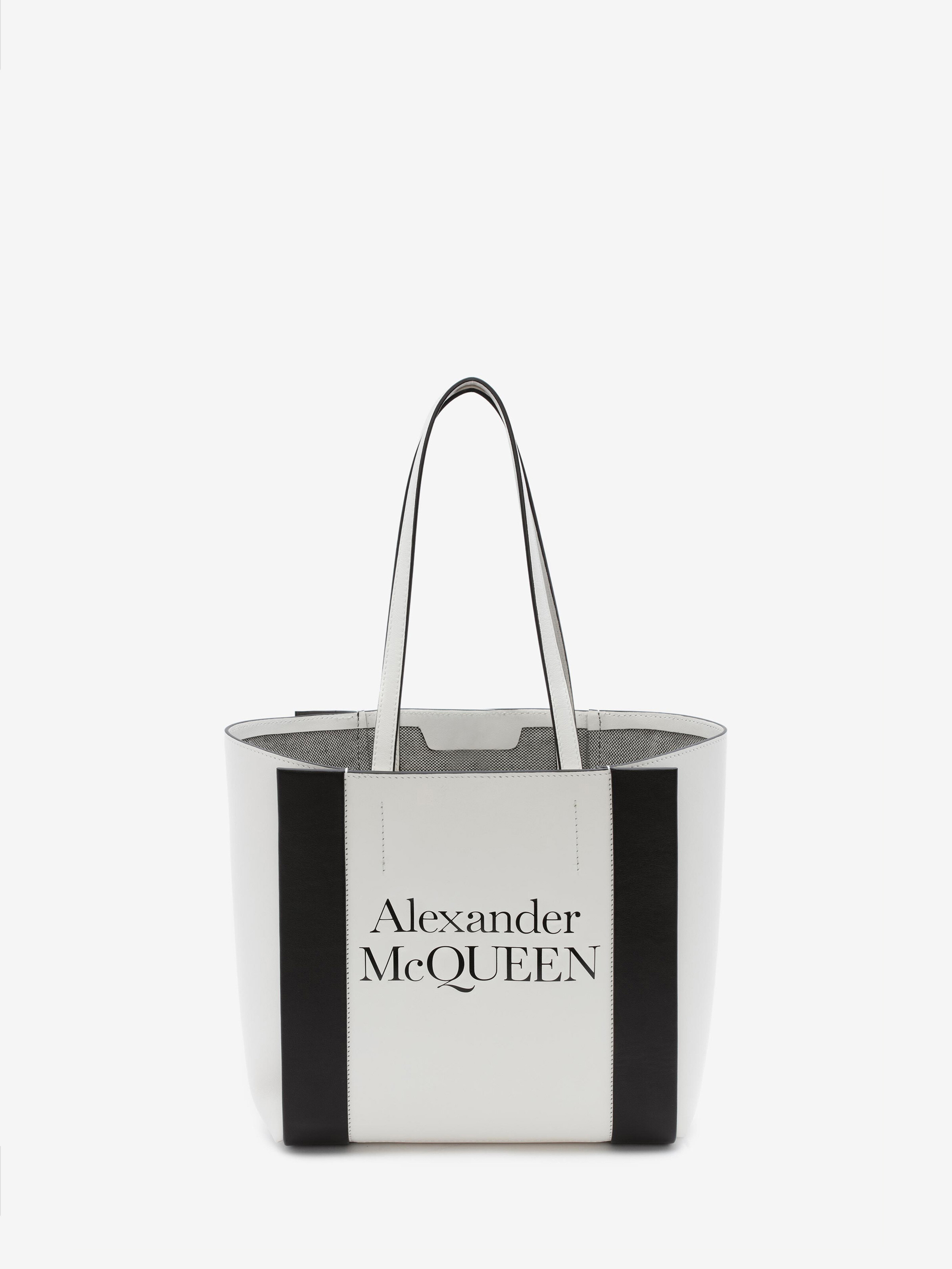 Alexander Mcqueen Small Signature Shopper In Ivory