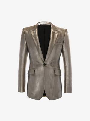 Metallic Moiré Tuxedo Jacket