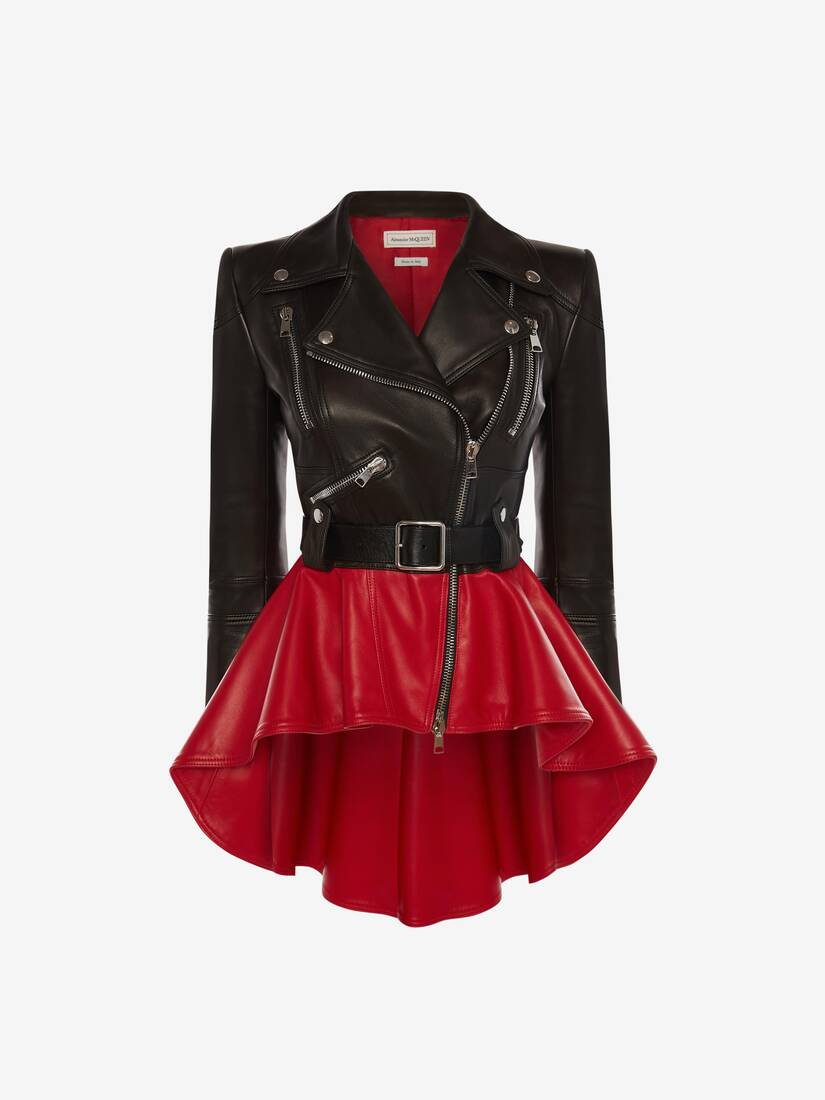 Display a large version of the product image 1 - Bi-Colour Leather Peplum Jacket
