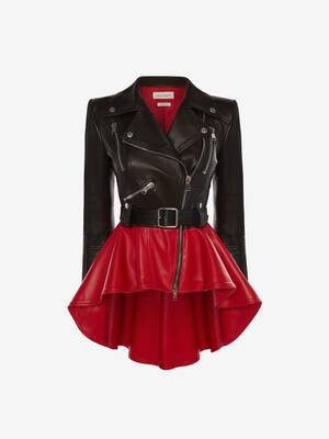 Bi-Colour Leather Peplum Jacket
