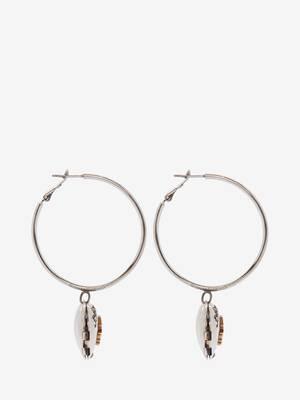 Boucles d'oreilles créoles avec médaillon cœur