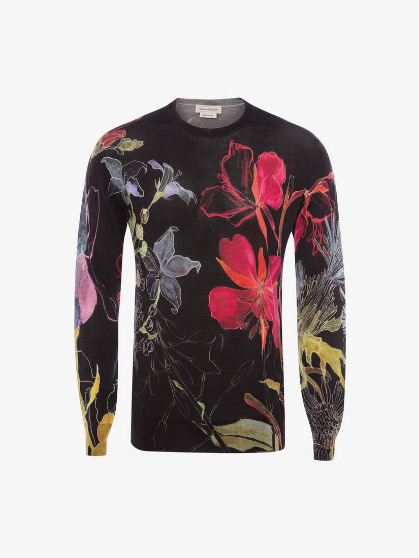 Display a large version of the product image 1 - Deconstructed Floral Crew Neck Jumper