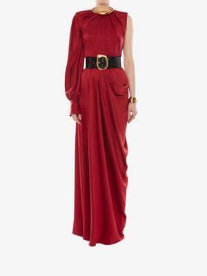 원슬리브 새틴 이브닝 드레스