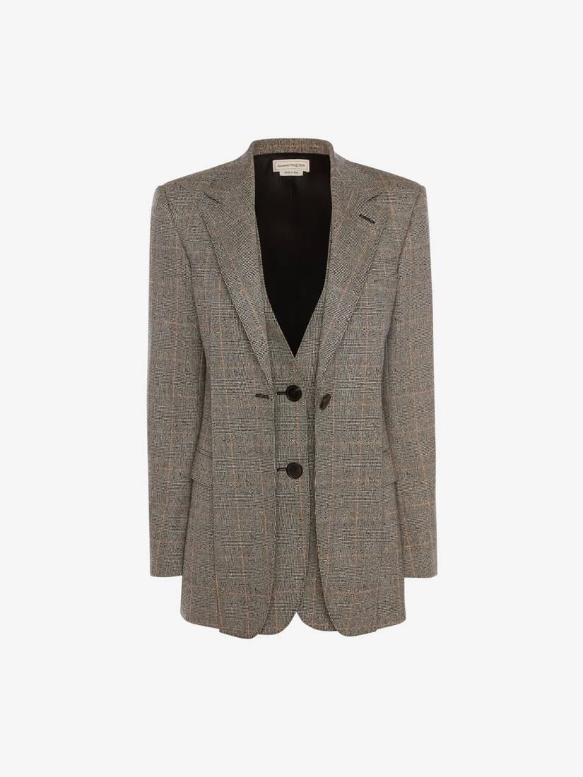 Distressed Prince of Wales Slash Lapel Jacket