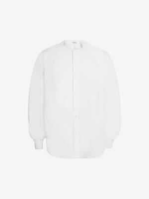 Collarless Tuxedo Poplin Shirt