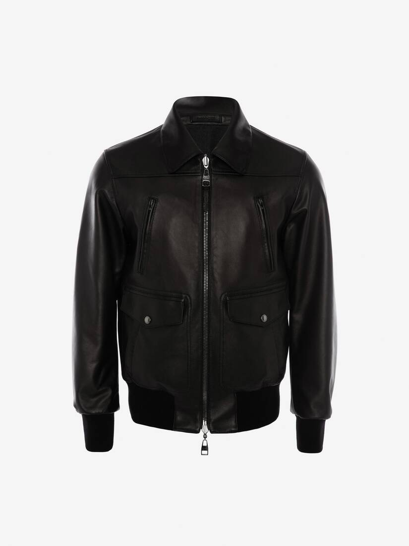 Display a large version of the product image 1 - Reversible Leather Bomber Jacket