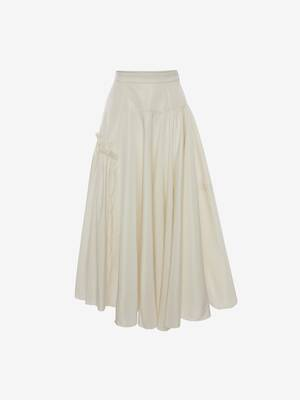 Gathered Asymmetric Midi Skirt