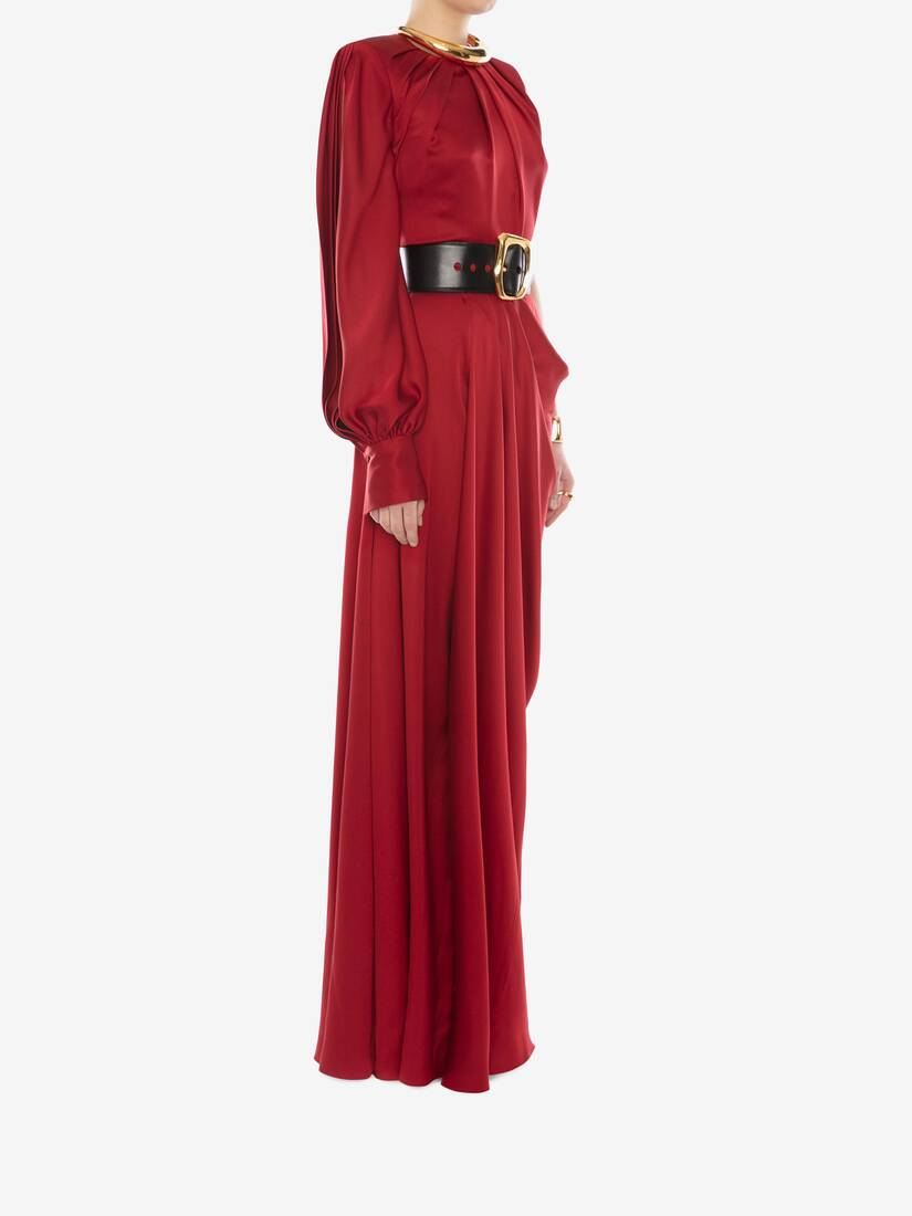 Display a large version of the product image 3 - One-Sleeve Satin Evening Dress