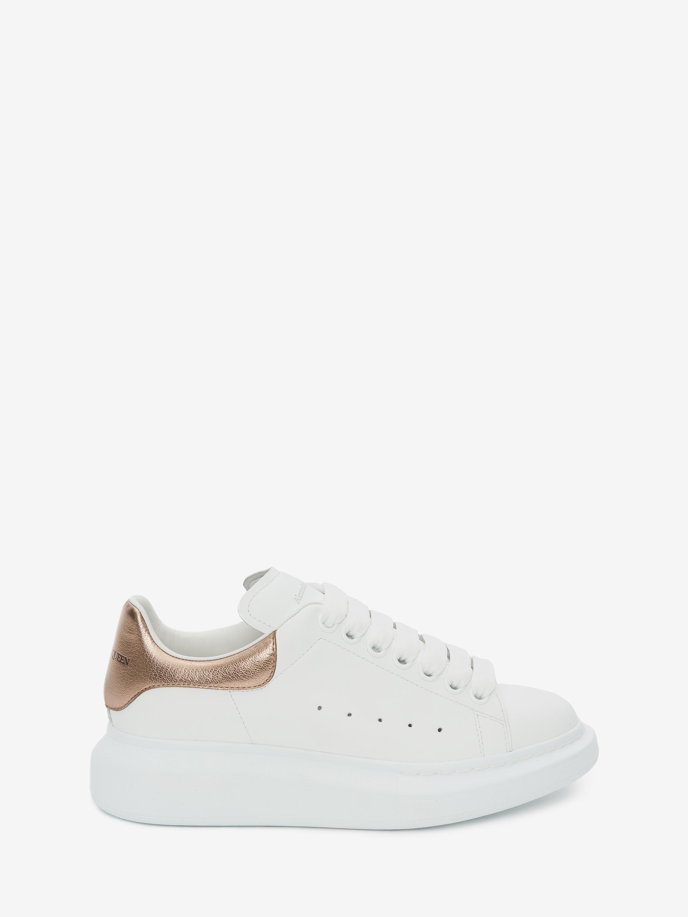 Oversized Sneaker in White/Rose Gold