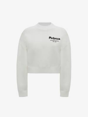 McQueen Graffiti Cropped Sweatshirt