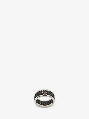 Bi-Colour Skull Chain Ring