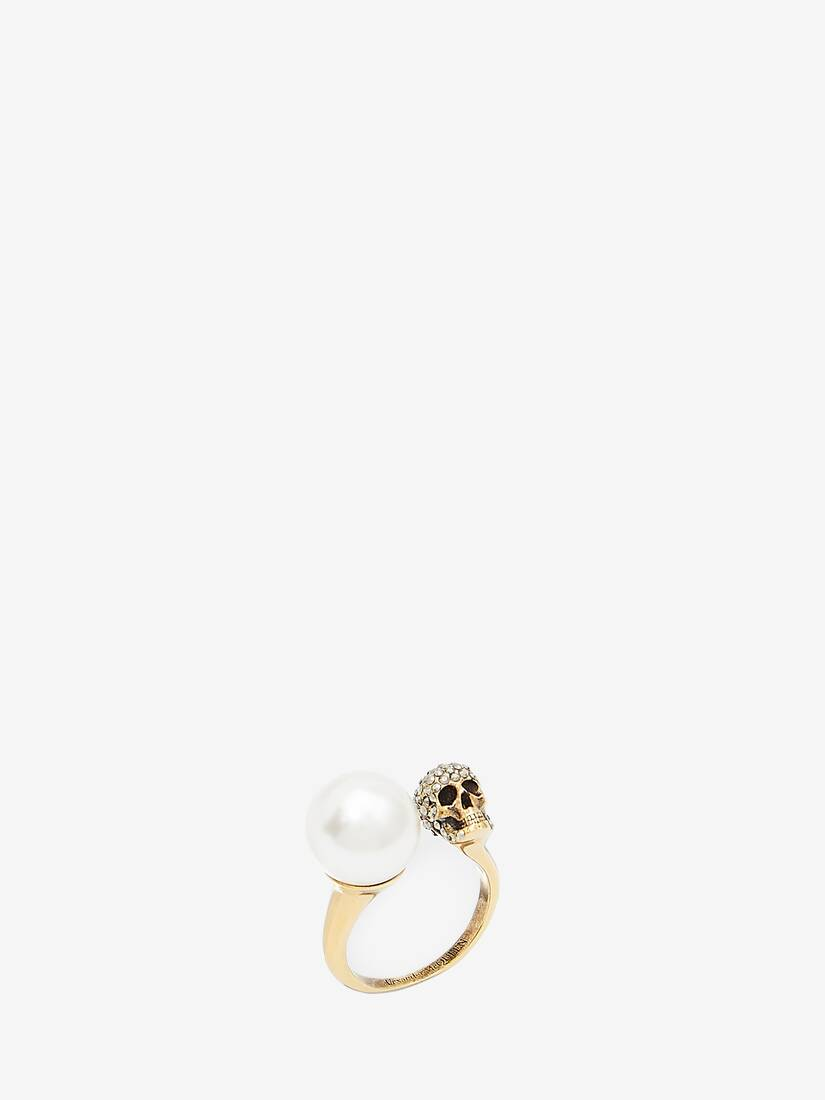 Bague Skull effet perle