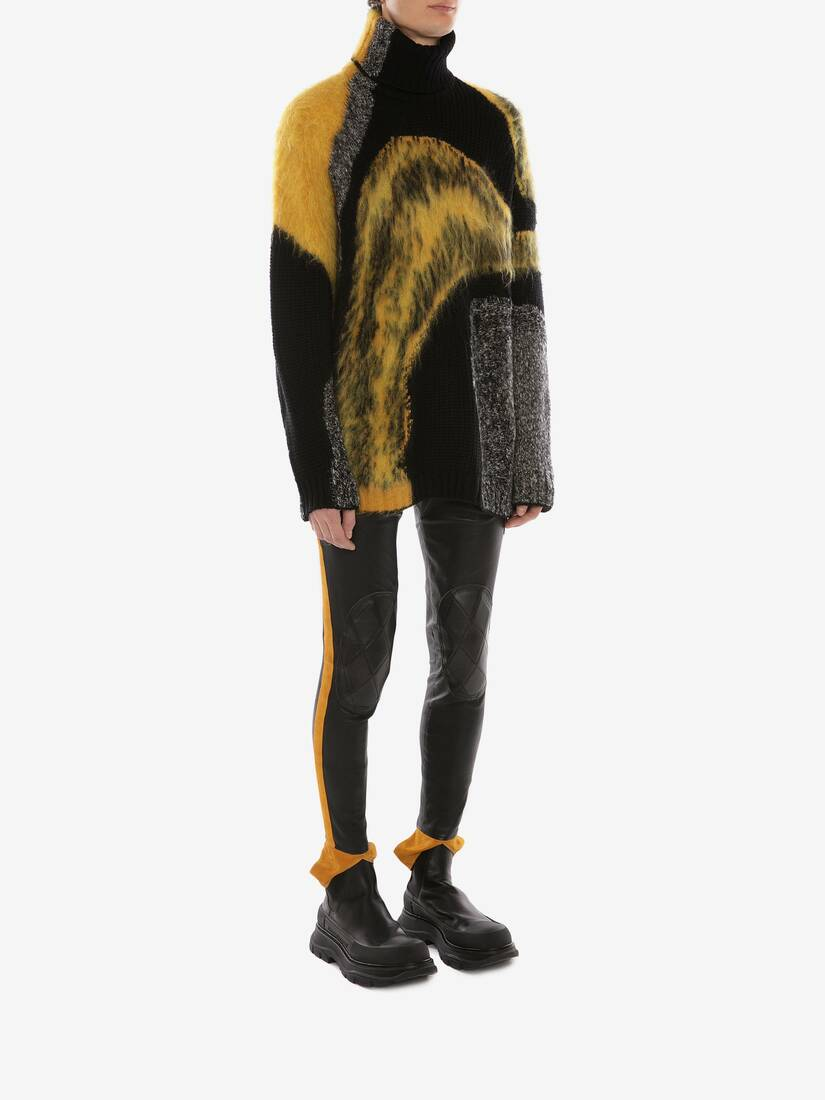 Abstract Intarsia Roll Neck Jumper