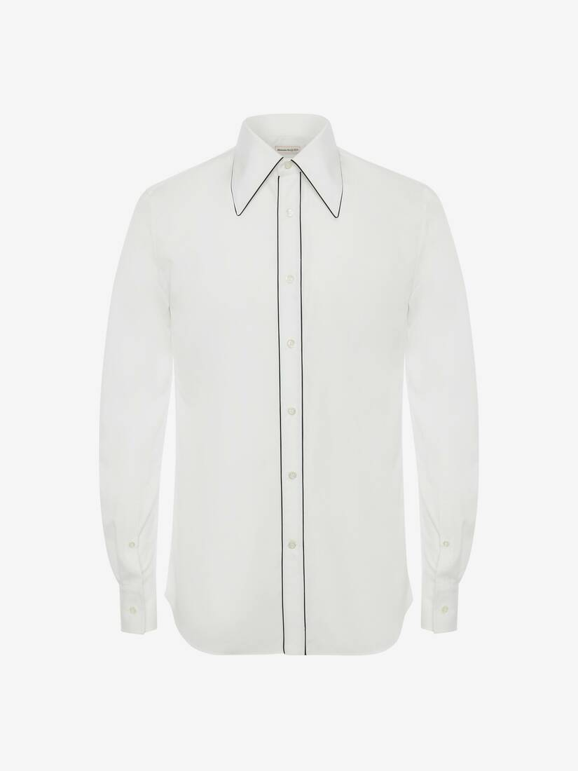 70's Collar Contrast Piping Shirt
