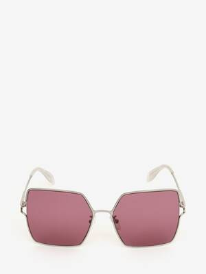 Metal Sculpted Square Sunglasses