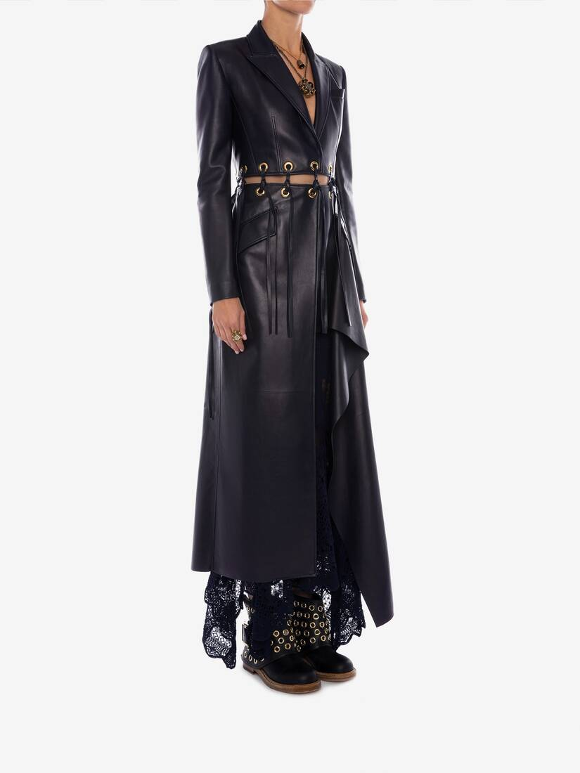 Display a large version of the product image 3 - Eyelet Leather Coat