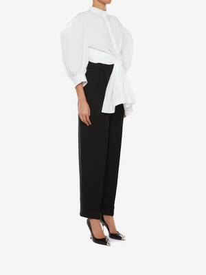 Cotton Poplin Bow Wrap Top