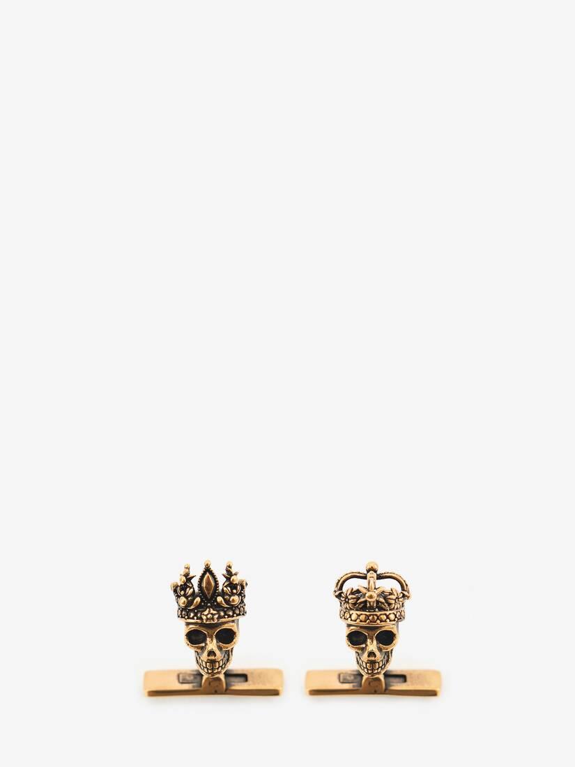 """大きな製品イメージを表示する 1 - """"Queen and King"""" Skull Cufflinks"""