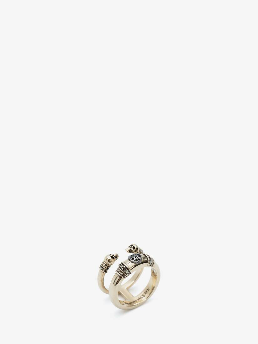 Display a large version of the product image 2 - Skull and Charm Seal Double Ring