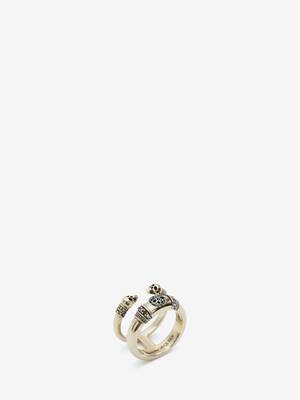 Skull and Charm Seal Double Ring