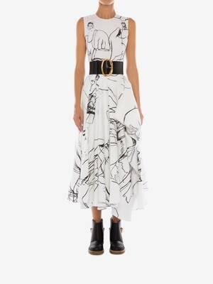 Dancing Girl Asymmetric Midi Dress