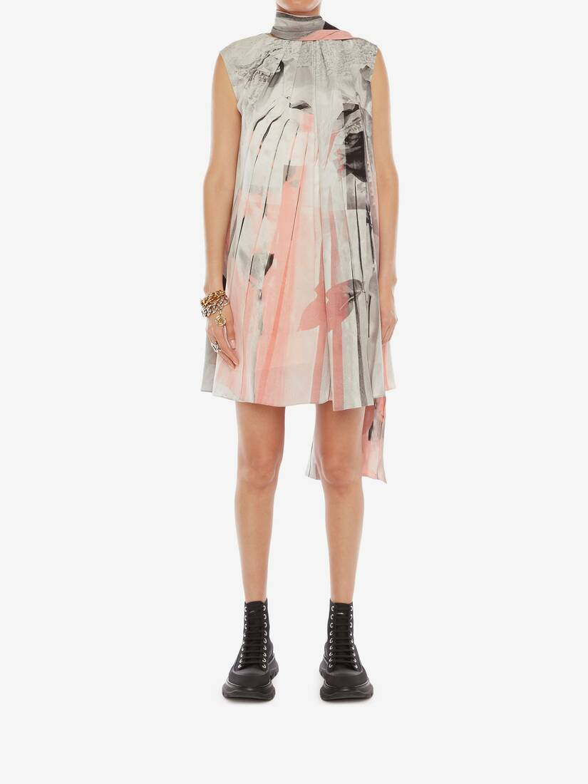 Display a large version of the product image 5 - Trompe-l'œil Scarf Neck Dress