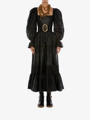 Pin Tuck Beetled Linen Dress