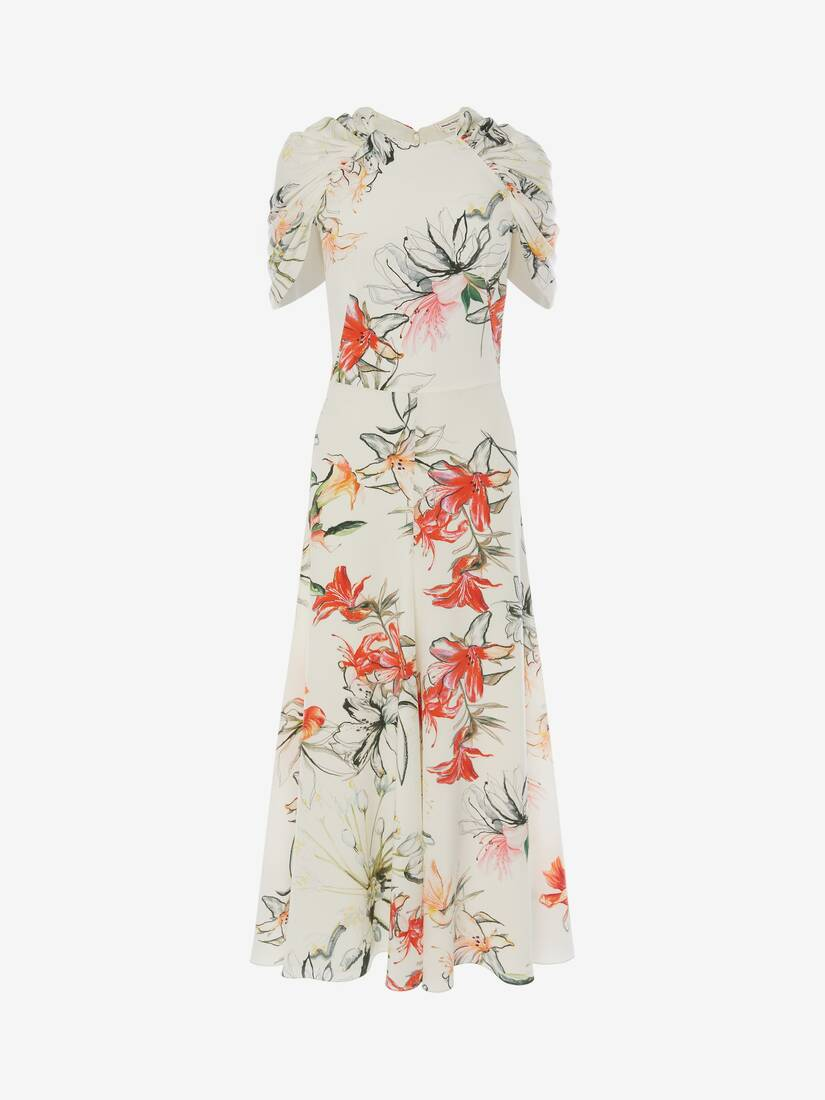 Display a large version of the product image 1 - Endangered Flower Cape Sleeve Midi Dress