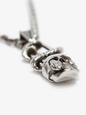 Skull Safety Pin Necklace